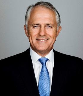 Foto oficial del abogado y periodista Malcolm Turnbull, Primer Ministro de Australia.