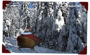 Santa disfruta pasear en trineo con Rodolfo por los bosques de Quebec.
