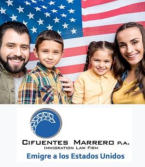 Según los especialistas de la firma legal Cifuentes-Marrero P.A., los ciudadanos estadounidenses pueden patrocinar la residencia permanente del cónyuge, los hijos solteros y casados de cualquier edad, los padres y los hermanos.